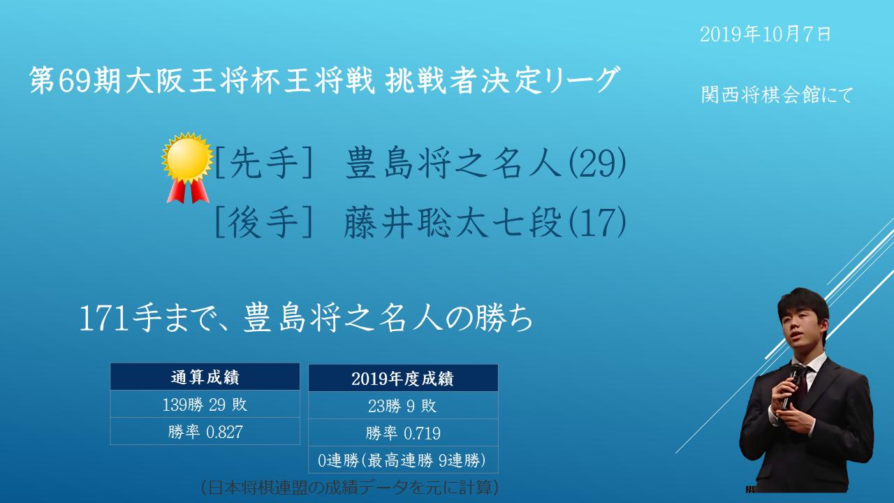 2019年10月7日 第69期大阪王将杯王将戦 挑戦者決定リーグ