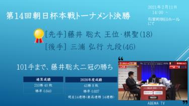 第14回朝日杯本戦トーナメント 決勝 vs 三浦弘行九段