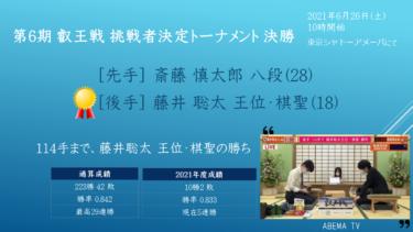 第6期叡王戦挑戦者決定トーナメントの対戦結果
