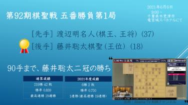 2021年6月6日 第92期棋聖戦 五番勝負 第一局 vs 渡辺明三冠