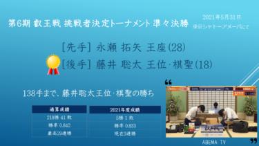 2021年5月31日 第6期 叡王戦 挑戦者決定トーナメント 準々決勝 vs 永瀬拓矢 王座