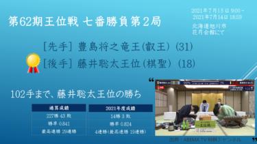 2021年7月13/14日 第62期王位戦 七番勝負 第2局 vs 豊島将之竜王
