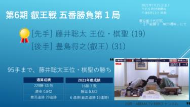 2021年7月25日 第6期叡王戦 五番勝負 第1局 vs 豊島将之叡王